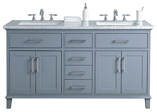 Stufurhome HD-1475G-60-CR 60 inch Grey Leigh Double Sink Bathroom Vanity, 60