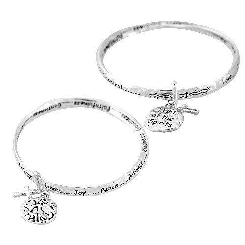 Peace Fruit - Love Joy Peace Fruits of the Spirit Women's Silver-Plated Hammered Mobius Bangle Charm Bracelet