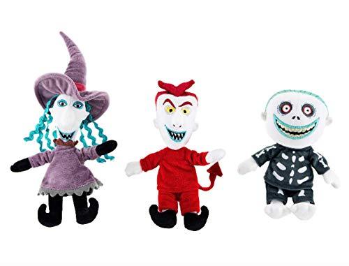 Triple Threat Nightmare Before Christmas Lock, Shock & Barrel Plush Doll Set Halloweentown Stuffed Character Pack 3 Items (Evil Toys Christmas Nightmare Before)