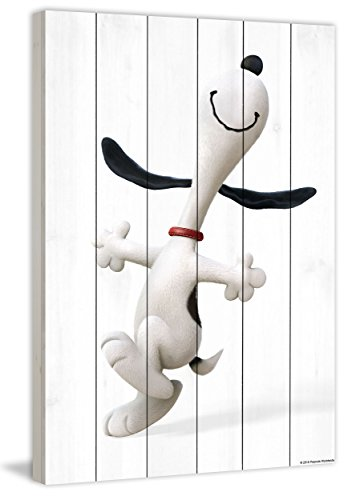 Peanuts MH-PNTS-01M-WW-36 Happy Dance Painting Print On White Wood, Multicolor, 24'' x 36'' by Marmont Hill