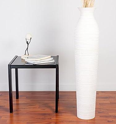 Leewadee Tall Big Floor Standing Vase For Home Decor 90 Cm Mango Wood White Wash Amazoncouk Kitchen