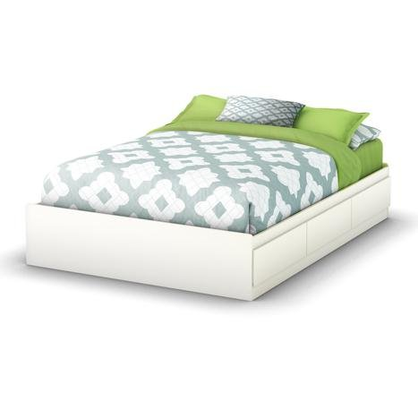 South Shore Storage Full Bed Collection 54-Inch Full Mates Bed, Pure White
