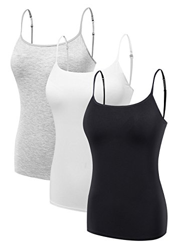 Women's Ladies Strap Basic Stretch Built-in Shelf Bra Cami Tank Top White-Grey-Black 3PCS/PACK - Bra Cup Cami