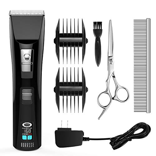 HURRISE Pet Grooming Kits LCD Cordless Quiet Pet Hair Clippers Trimmer Kit Fast Charging and Long Endurance with 6 Accessories for Dog Cat Animals Grooming Hair Trimming