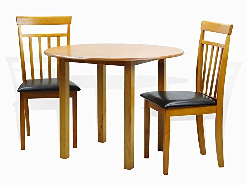 (Dining Kitchen Set of 3 Round Table and 2 Classic Solid Wood Chairs Warm in Maple Finish )