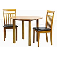 Dining Kitchen Set of 3 Round Table and 2 Classic Solid Wood Chairs Warm in Maple Finish