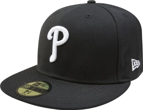 MLB Philadelphia Phillies Black with White 59FIFTY Fitted Cap, 7 1/4