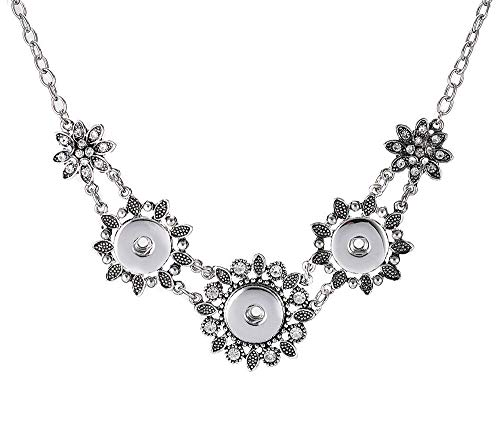 New Sale Flower Crystal Pendant Necklace Drill Snap Fit 18mm Noosa Charm Button