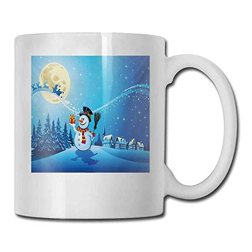 Ceramic Mug Christmas Snowy Landscape Pines Houses Starry Sky Full Moon and Santa with Present Decorative Cup 11 oz Blue Eggshell White