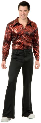 7s Costumes (Charades Costumes Men's Disco Shirt - Flame Hologram Adult Costume Medium Red)