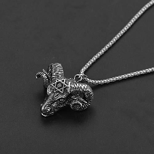 Necklace for Men Vintage Goat Sheep Head Necklace Devil Pan God Silver Color Necklaces Sheep Punk Pendants For Women Men Fashion Collar Jewelry