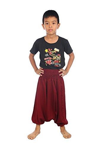 Lofbaz Kids Harem Plain Color Child Aladdin Pants Boho Hippy Burgundy Size 2T -