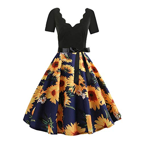 Women Short Sleeve Fashion Print Vintage Flare Party Cocktail Dresses with Belt 2019 New