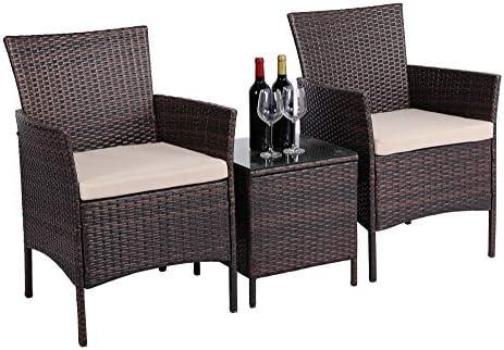 YAHEETECH 3 Pieces Patio Furniture Sets PE Rattan Wicker Chairs Beige Cushion