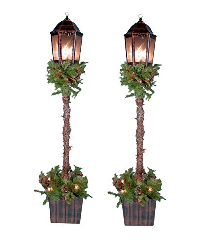 Holiday Essentials 4 Foot Decorated Christmas Planter Urns with Lantern - Set of 2