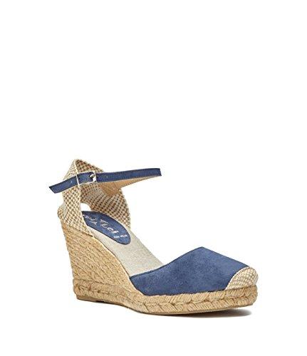 Poi Lei Scarpe Da Donna Cuneo Tallone Pedule Carmen Vera Pelle Blu-made In Italy-
