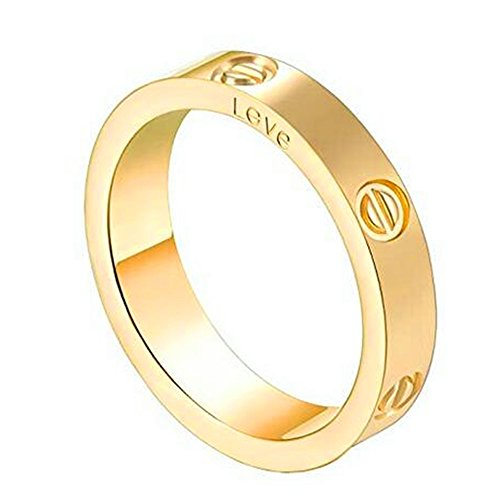 Trozk Fashion Titanium Steel Love Ring - Jewelry Box Packing Wide 5MM Lovers Rings (Gold, 9)
