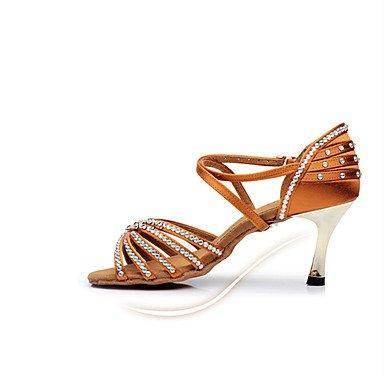 LvYuan Mujer-Tacón Stiletto-Otro-Sandalias-Vestido-Satén-Rojo Marrón Claro light brown