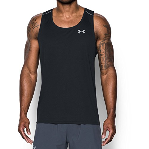 Under Armour Men's CoolSwitch Run Singlet, Black (001)/Reflective, Large