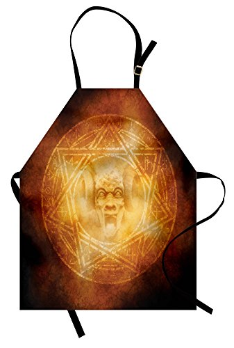 Ambesonne Horror House Apron, Demon Trap Symbol Logo Ceremony Creepy Scary Ritual Fantasy Paranormal Design, Unisex Kitchen Bib Apron with Adjustable Neck for Cooking Baking Gardening, Orange by Ambesonne