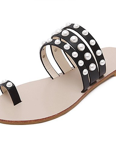 LFNLYX Zapatos de mujer-Tacón Plano-Plataforma / Anillo Frontal-Sandalias-Vestido-Semicuero-Negro / Blanco Black