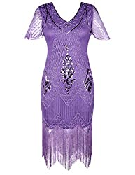 Light Purple 1920s Sequin Art Dress with Sleeve