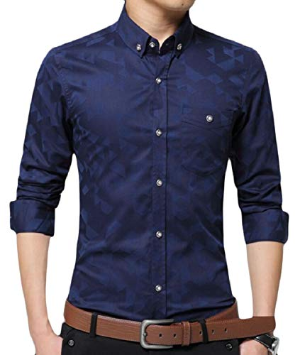 Mens Slim Blue Shirts Business No Dark Dress zhaoabao Long Collar Spread AU Sleeve Iron Fit y4SW75p