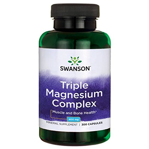 Swanson Triple Magnesium Complex Absorption, Bone and Mood Health, Citrate, Oxide and Aspartate Combination Supplement 400 mg 300 Capsules