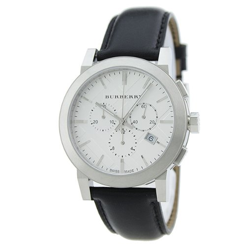 SALE! Authentic Swiss Burberry LUXURY Chronograph Watch Men Unisex The City Black Leather Silver Date Dial BU9355
