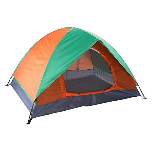 VINGLI 2-Person Instant Camping Dome Tent with 2-Layer Double Door & Full Coverage Rainfly & Carry Bag for Hiking Travel Picnic Beach Outdoor – Orange & Green