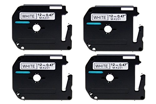 refurbXperts Compatible Black on White Label Tape Replacement for Brother P-Touch MK231, M-K231 (4 pack) (Renewed)