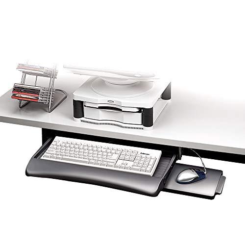 Fellowes 93804 - Bandeja para teclado con altura ajustable y bandeja para el raton, color grafito