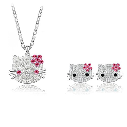 Mall of Style Hello Kitty Necklace Earrings Jewelry Set for Women/Girls (Pink)