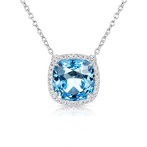 (Alantyer Birthstone Necklace Made with Square Swarovski Crystal for Women and Girls,Aquamarine (March Birthstone))