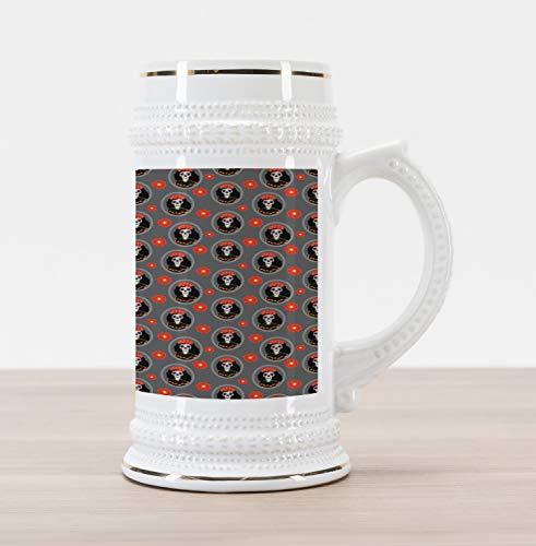 (Ambesonne Sugar Skull Beer Stein Mug, Dia de Los Muertos Calavera Katrina Portraits in Oval Shaped Frames, Traditional Style Decorative Printed Ceramic Large Beer Mug Stein, Grey and)