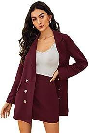 MakeMeChic Women's Two Piece Plaid Long Sleeve Blazer and Zipper Skirt Set