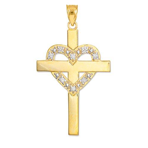 Solid 14k Yellow Gold Diamond-Studded Heart Cross - Accented Diamond Pendant Mom