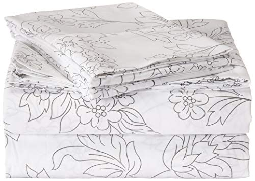 ienjoy Home 4 Piece Sheet Set Vine Patterned, Full, Gray (Patterned Sheets Full)