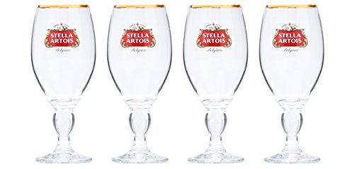 Stella Artois 4-Pack Original Glass Chalice, 33cl (Gold Leaf Wine)