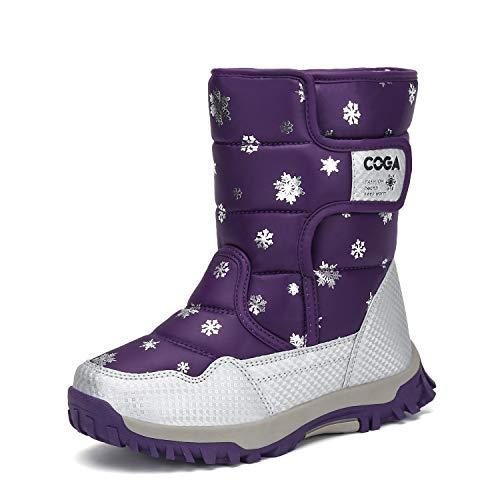 Girls Boys Winter Snow Boots Warm Waterproof Anti-Slip Anti-Collision Hight-Cut for Outdoor Skiing Purple 13 Little Kid