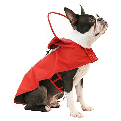 (Gooby - Raincoat, Adjustable Rain Cap with See Through Visor, Red, Medium )