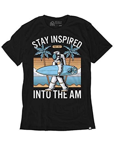 Alien Black T-shirt - INTO THE AM Astro Surfer Men's Graphic Tee Shirt (Black, 4X-Large)