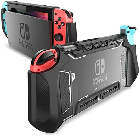 Dockable Case for Nintendo Switch, Mumba [Blade Series] TPU Grip Protective Cover Case Compatible with Nintendo Switch Console and Joy-Con Controller (Black)