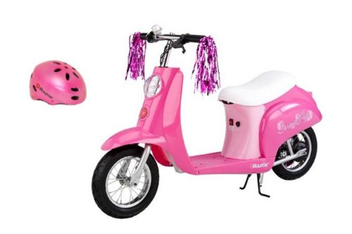 Razor Pocket Mod Euro Girls Electric Scooter Sweet Pea & Youth Helmet (Pink) (Razor Pocket Mod Miniature Electric Euro Style Scooter)