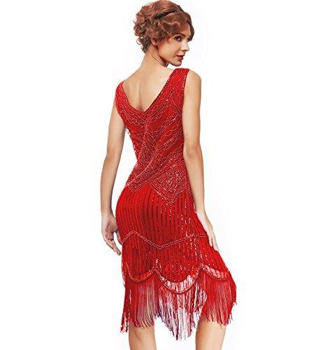 xs-XXL Women's Roaring 20s V-Neck Gatsby Dresses- Vintage Inpired Sequin Beaded Flapper Dresses (XXL, red-1)