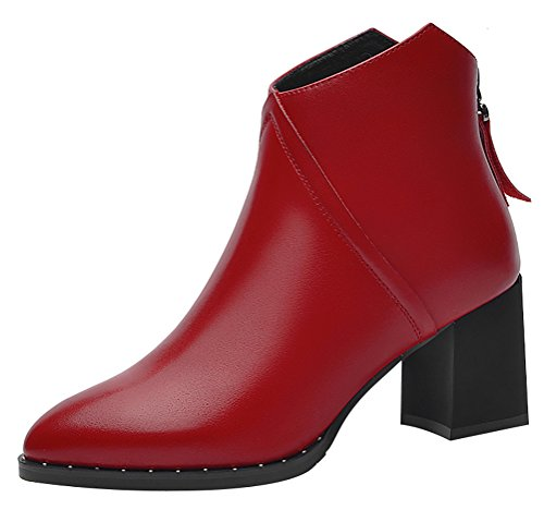 Red Solo Cup Costume Dress (T&Mates Womens Fashion Back Zipper Block Heel Solid Patent Leather Ankle Booties Martin Boots (7.5 B(M) US,Red))