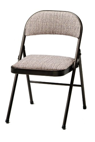 Meco 4-Pack Deluxe Fabric Padded Folding Chair, Cinnabar Frame and Motif Fabric Seat and Back by MECO