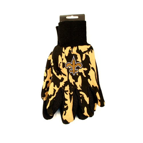 NFL New Orleans Saints Camo Gloves, Gold/Black