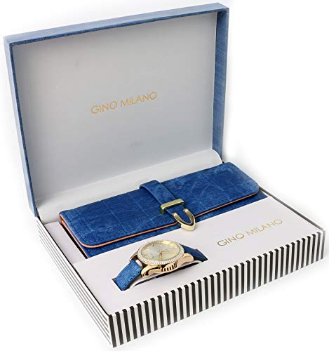 Women's Matching Leather Watch & Tri-Fold Wallet Gift Set - Denim Blue