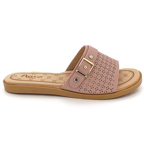 AARZ LONDON Women Ladies Everyday Wear Casual Slip On Comfort Super Lightweight Flats Sandal Shoes Size Pink bX3qjUF